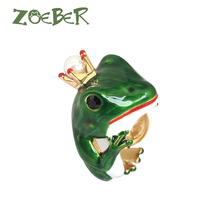 Zoeber Wedding Rings 3D Enamel Glaze Frog Rings for Men Women Fashion Party Gift Unique Design
