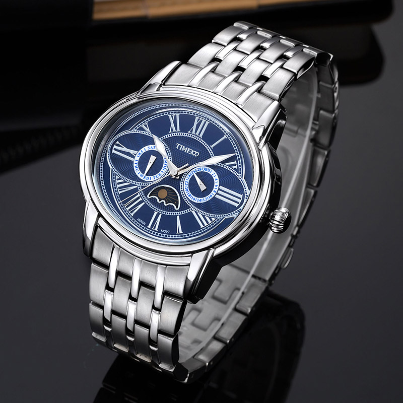 TIME100 Unique Men Quartz Watch Owl Eyes Moon Multifunction Stainless Steel Strap Analog Wrist Watches For Men relogio masculino hot sale time100 fashion multifunction full steel wristwatch tungsten steel strap men quartz waterproof watches w50109g 02a