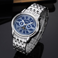 TIME100 Unique Men Quartz Watch Owl Eyes Moon Multifunction Stainless Steel Strap Analog Wrist Watches For Men relogio masculino