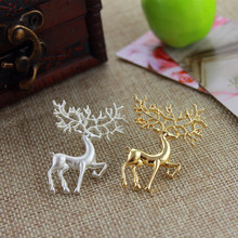 2016 Free shipping fashionable woman fashion jewelry alloy white gold fawn exaggerated brooch on Christmas day