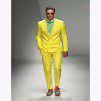 2018 Stylish Yellow Double Breasted wedding groom man Suits dress Mens Formal Occasion Wear Party Men suit Tuxedo (jacket+Pants)