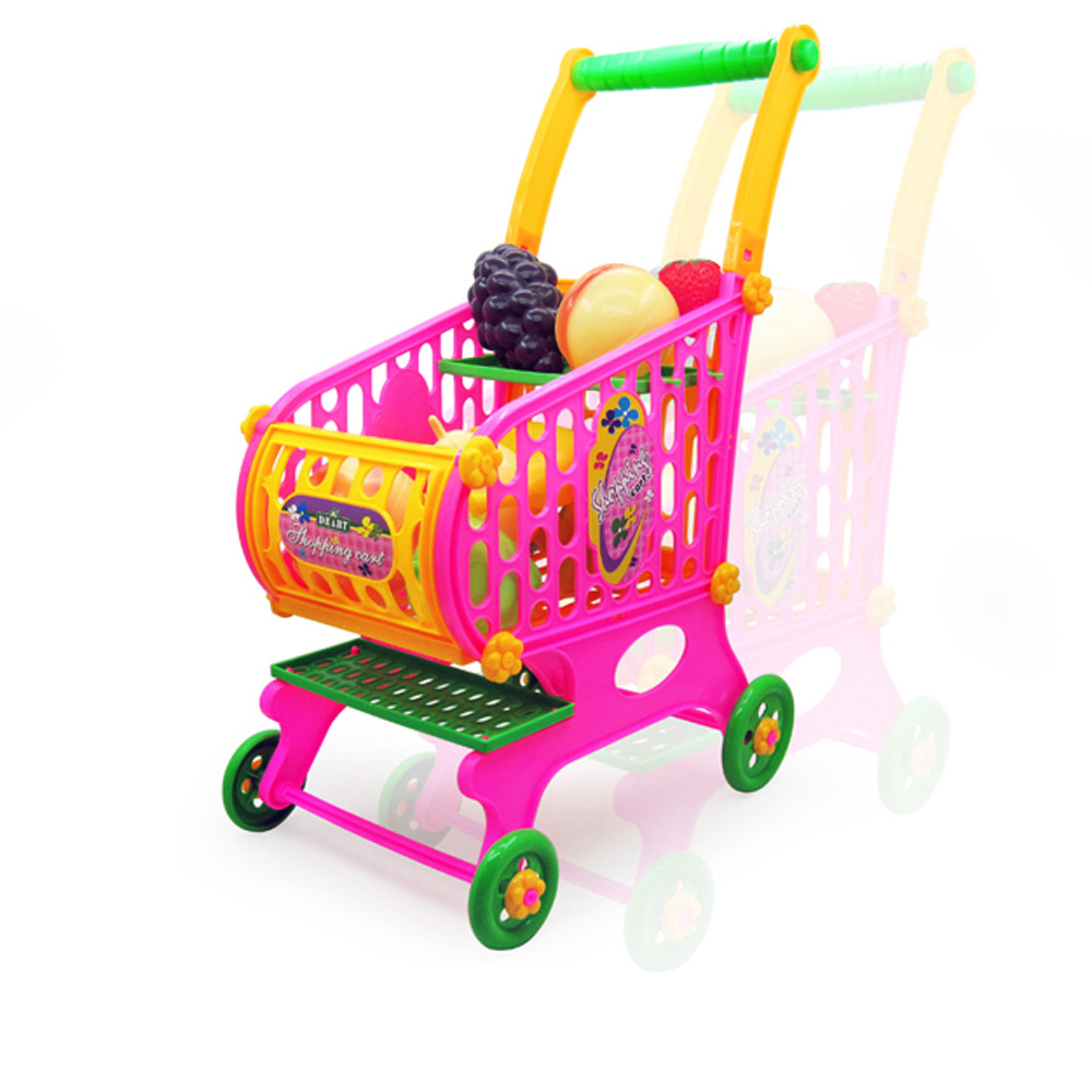 Kids Toys Simulation Shopping Cart Vegetables Fruits Food Pretend Play Children Supermarket