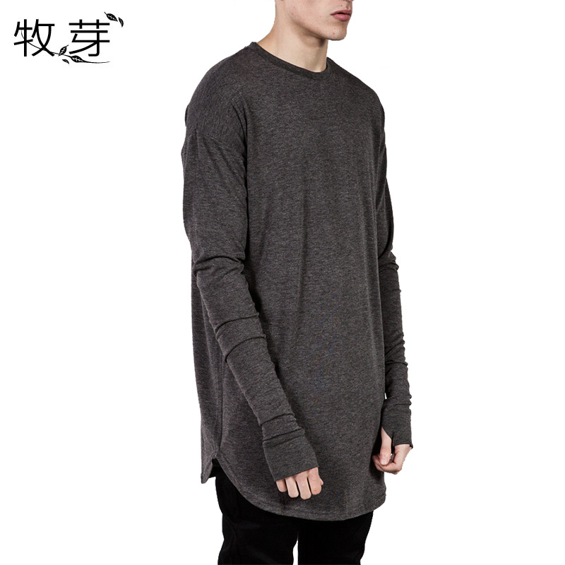 New Arrived Mens Longline Thumb hole Solid   T     shirts   Men Hip Hop Swag Hem Long sleeves Tops Tee Cotton Casual wears
