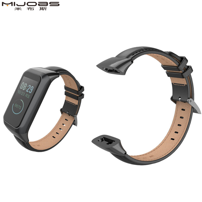 Mijobs For 18mm <font><b>XiaoMi</b></font> HuaMi <font><b>Amazfit</b></font> <font><b>cor</b></font> <font><b>2</b></font> Genuine leather strap for huami <font><b>amazfit</b></font> co2 Accessories Smart Watch Wristband Strap image