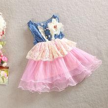 2016 Cute Girls Denim Vest Dress Kids Sleeveless Halter Bubble Dress with Removable Flower New Summer Lace Princess Clothing