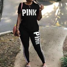 プラスサイズ2個セット女性のトラックスーツカジュアルピンクレタープリントセクシーな汗スーツ半袖tシャツトップパンツxxxl