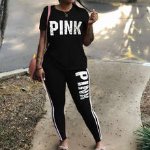 Plus Size 2 Piece Set Woman Tracksuit Casual Pink Letter Print Sexy Sweat Suits Short Sleeve Tee Shirt Top Skinny Pants XXXL