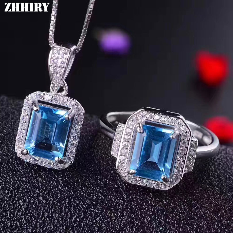 ZHHIRY Women Real Natural Blue Topaz Jewelry Sets Genuine 925 Sterling Silver Necklace Pendant Rings Gemstone Fine Jewelry