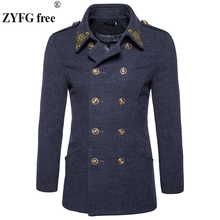 Winter Coat mens tops clothing brand fashion windbreaker coat new 2018 men casual Chinese style Embroidery woolen overcoat S-XXL