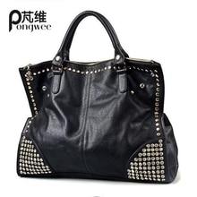 PONGWEE Neue Mode Pu-leder Damen Handtaschen Stud frauen Tasche Handtasche Niet Umhängetaschen Top-griff taschen