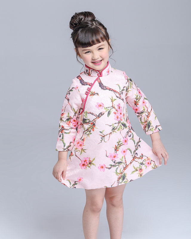 Spring High Quality Kids Clothes Chinese Style Girl Dresses Long Sleeve Chinese Knot Cheongsam Collar Floral Print Child Dress graceful round collar 3 4 sleeve floral print plus size midi dress for women