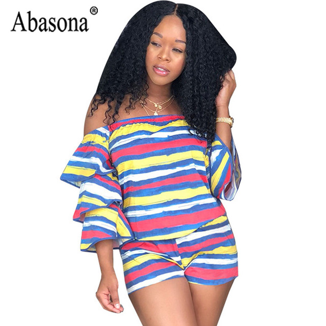b1de93c74 Abasona Short Rompers Women Striped Ruffles Playsuit Summer Weekend Beach  Casual Rompers Off The Shoulder 2 Piece Sets Jumpsuit