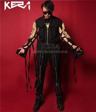 The newest Mirror bright red leather jacket zipper stitching leather coat menswear singer DJ atmospheric stage costumes