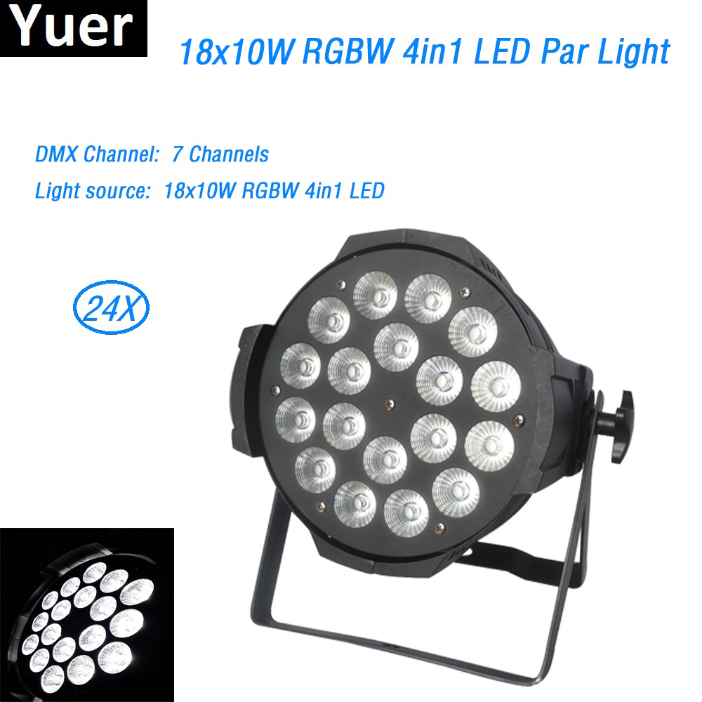 24Pcs/lot Die-cast aluminum 18x10W RGBW 4in1 LED Par dmx512 led spot wash disco light led strip light box wedding stage lighting freeshipping tiptop 200w led profile spot rgbw 4in1 stage wash effect cast aluminum gobo frame spring clip safety zoom tp 007