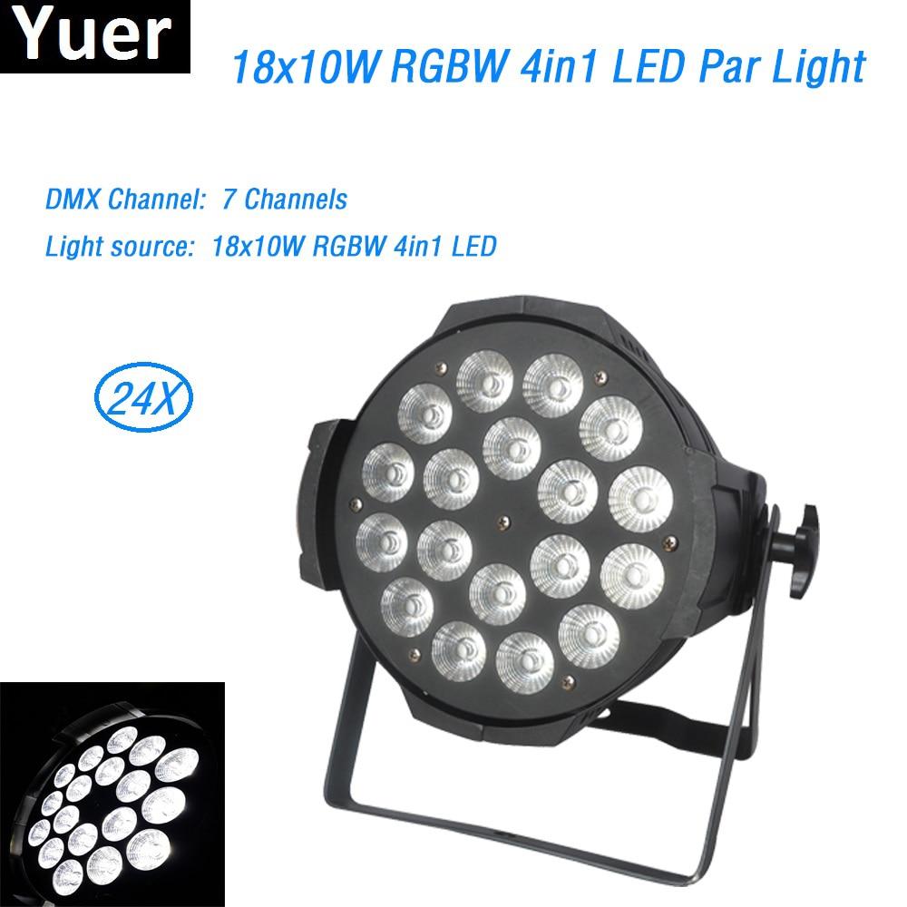 24Pcs/lot Die cast aluminum 18x10W RGBW 4in1 LED Par dmx512 led spot wash disco light led strip light box wedding stage lighting