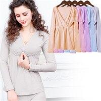 6dcfa1e9d Cotton Long Sleeve Nursing Clothes Winter Nursing Pajamas Pregnant Pyjama  Breastfeeding Pregnancy Gravidity Nightgrown