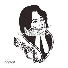 CC6308 6X6cm Little Vintage Old School Style Black Missing Girl Temporary Tattoo Sticker Body Art Water Transfer Fake Taty