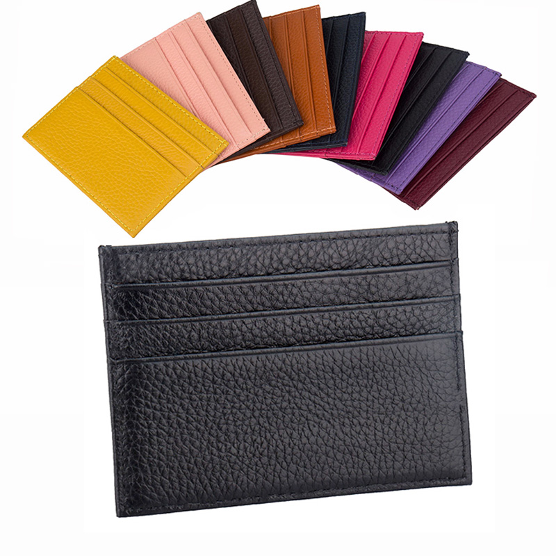 100% Genuine Cow Leather ID Card Holder Candy Color Bank Credit Card Gift Box Multi Slot Slim Card Case image