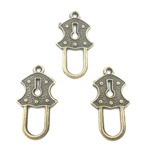 20Pcs Vintage Bronze Tone Pendants Classic Lock Metal For Bracelets Fashion Craft Jewelry DIY Findings 24mm