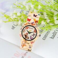 BOBO BIRD Bamboo Watch Women Designer Printing Quartz Movement Bamboo Strap Ladies Wristwatch B O20