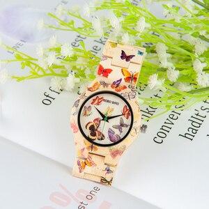 Image 1 - BOBO BIRD Bamboo Watch Women Designer Printing Quartz Movement Bamboo Strap Ladies Wristwatch B O20