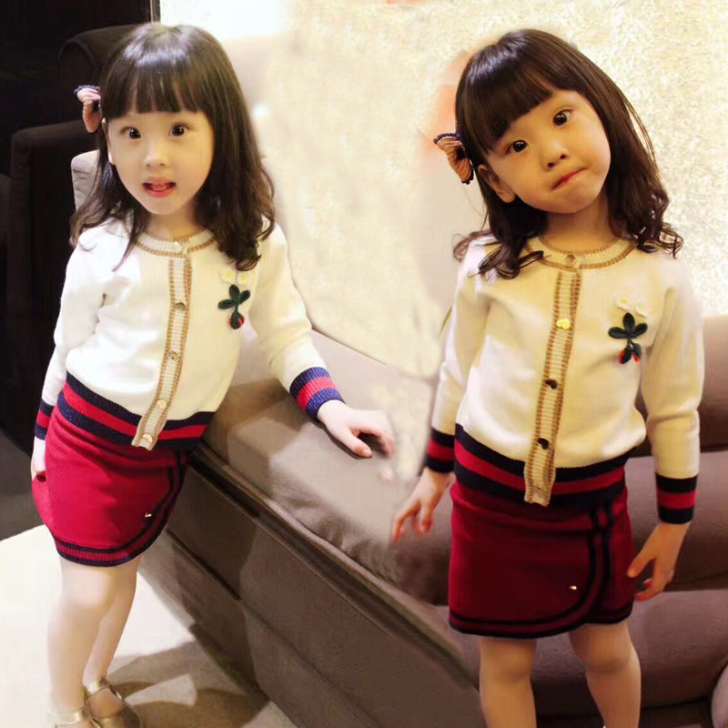 Girls Set 2017 Children Fashion Baby Sweater Cardigan Western Style Two Piece Skirt SetGirls Set 2017 Children Fashion Baby Sweater Cardigan Western Style Two Piece Skirt Set