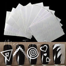 12pcs/set Nail Art Guide Tips Hollow Stencils Sticker French Manicure Template 3D Vinyls Decals Form Styling Tool