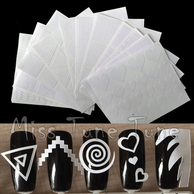 12 pçs/set Guia de Dicas Da Arte Do Prego Oco Template Stencils Sticker French Manicure 3D Decalques Vinis Forma Styling Ferramenta