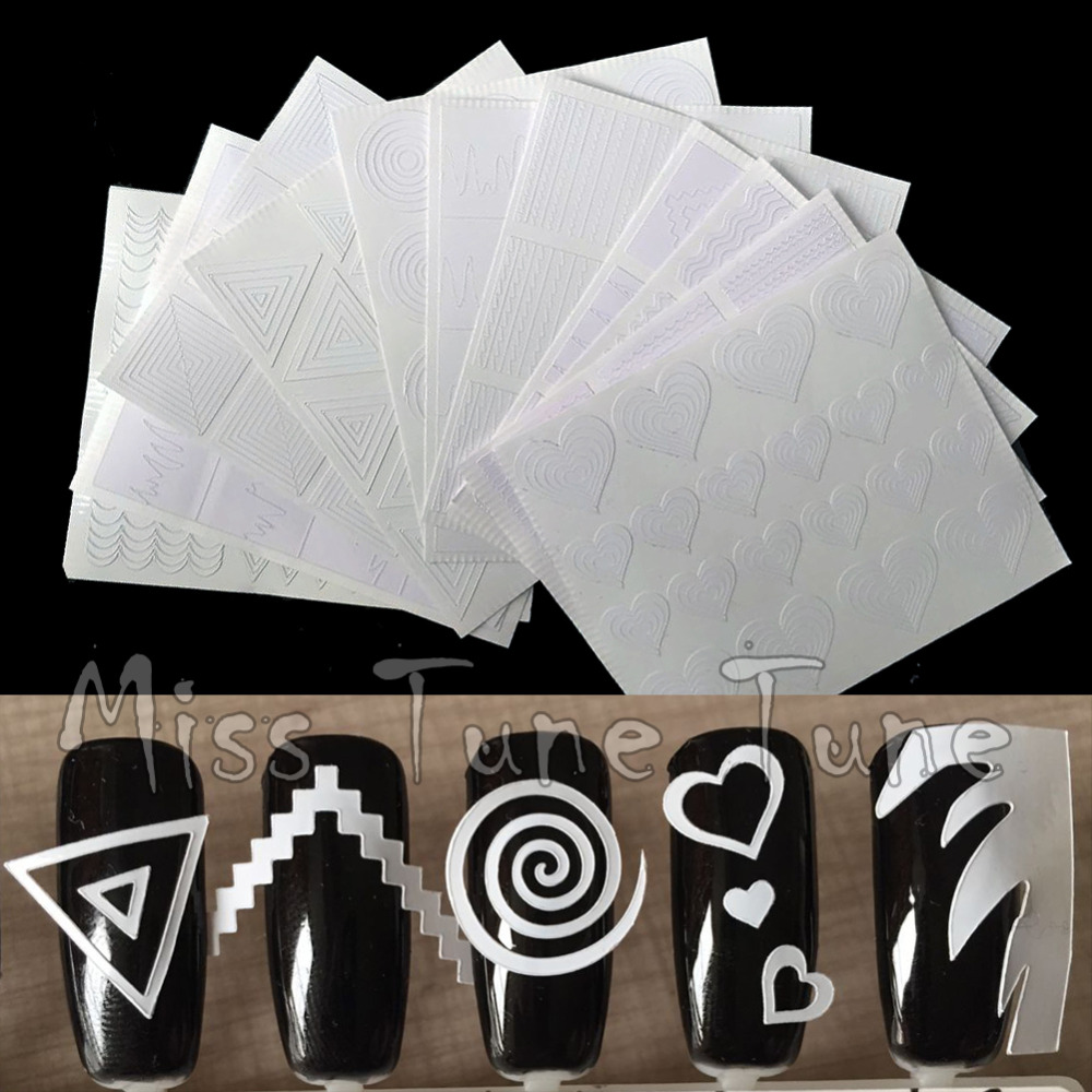 12pcs/set Nail Art Guide Tips Hollow Stencils Sticker French Manicure Template 3D Vinyls Decals Form Styling Tool 10pcs nail art stamping printing skull style stainless steel stamp for diy manicure template stencils jh461 10pcs