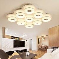 DX современные светодиодные светильники потолочные светильник для Гостиная Спальня затемнения дистанционного Управление лампы кольцо Сол