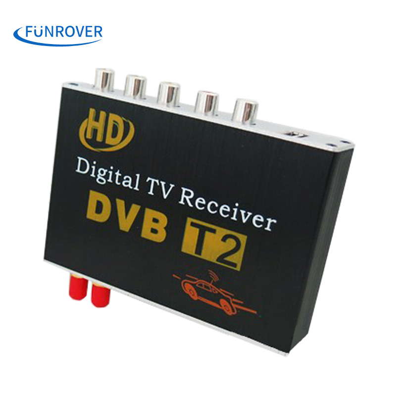 FUNROVER dual antenna High Speed Car HD DVB-T2 Mobile cars Digital TV Turner Receiver auto tv box dvb t2 120-150KMH russia hot mini hd dvb t2 terrestrial digital tv receiver support 3d black