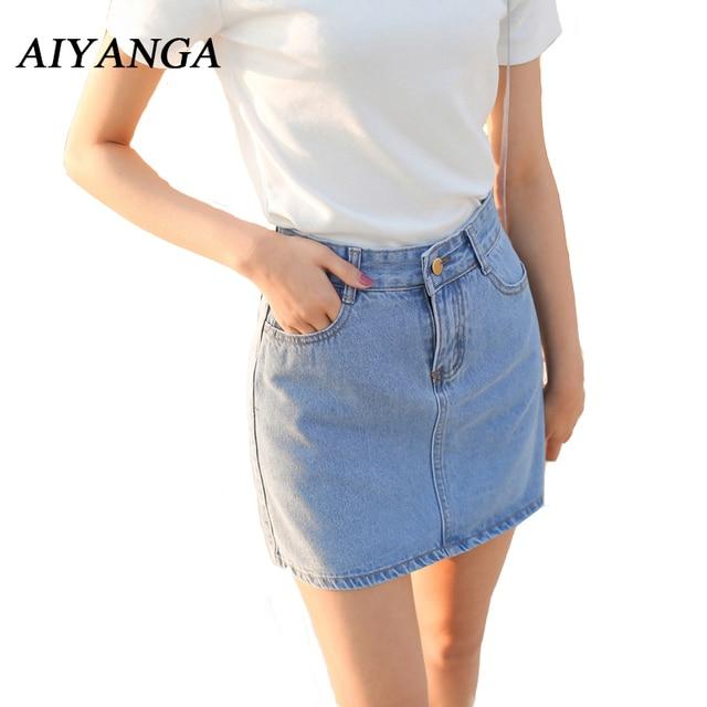 82bea171a Nuevas faldas de mezclilla de verano para mujer 2018 falda de cintura alta  Mini falda de Jeans clásica femenina oscura/azul claro Sexy faldas Mujer