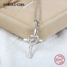 Hot sale 925 sterling silver simple design Cross chain pendant&necklace diy European fashion jewelry making for women gifts