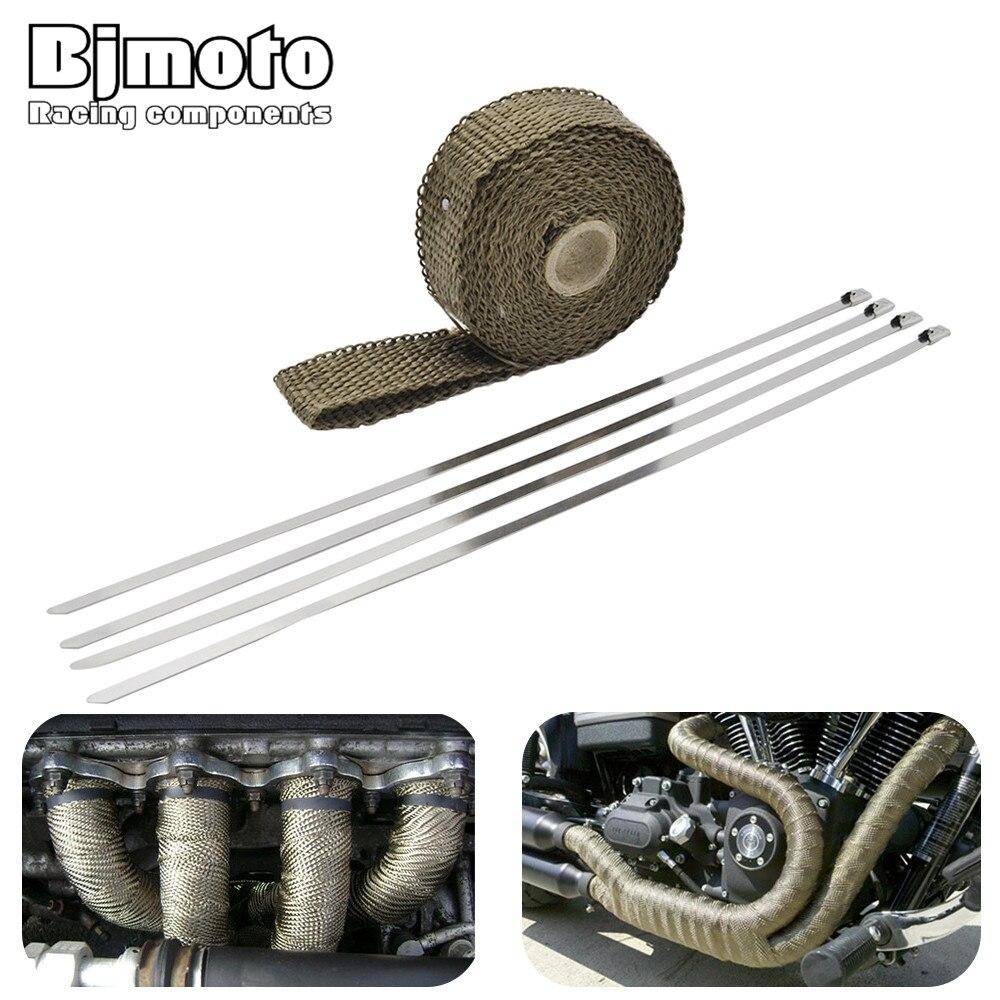 Bjmoto Voiture Moto Bouclier Thermique Wrap Échappement Turbo Chaleur Bande Wrap 5 m 10 m 15 m Tuyau Wrap Boucliers collecteur Tête Rouleau D'isolation