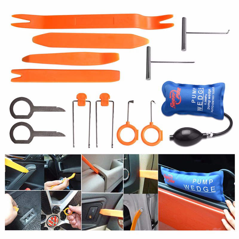 Super PDR Pump Wedge Locksmith Tools Lock Pick Set Open Car Door Lock Opening Tools Car Radio Panel Removal Tools 200pcs lot hu92 car lock reed locking plate hu92 car locks tablets lock spring car locksmith tools