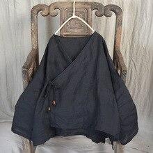 Женские весенние свободные однотонные винтажные куртки, женские неровные ретро топы, женские рубашки, пальто, короткая верхняя одежда