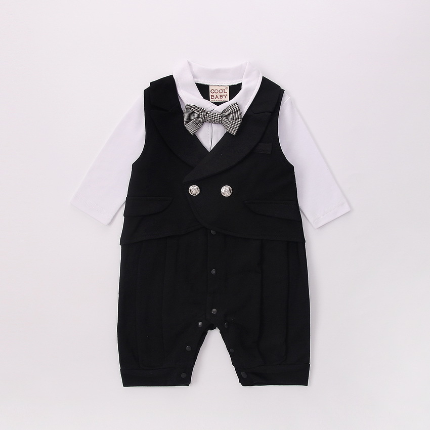 2017 autumn models leave two baby gentleman long-sleeved harem clothes 1-3 full moon bab ...