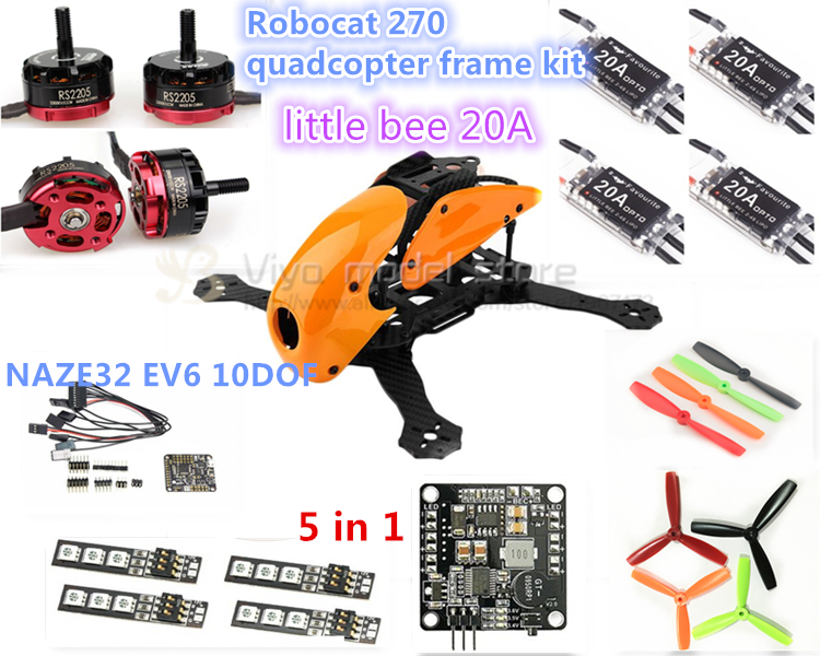 DIY FPV race Robocat 270 V2 mini drone carbon Fiber frame kit CC3D/ NAZE32 REV6 10DOF+EMAX RS2205 2300KV+little bee 20A ESC 2-4S diy fpv mini drone qav210 zmr210 race quadcopter full carbon frame kit naze32 emax 2204ii kv2300 motor bl12a esc run with 4s