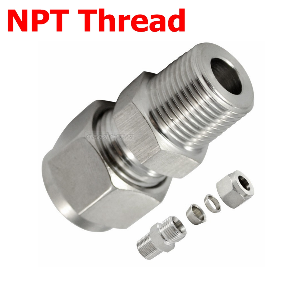 2Pcs 1/2 NPT Male Thread x 8mm OD Tube Compression Double Ferrule Tube Compression Fitting Connector NPT Stainless Steel 304 new 1 4 npt to 6mm compression male elbow double ferrule stainless steel 304 fittings