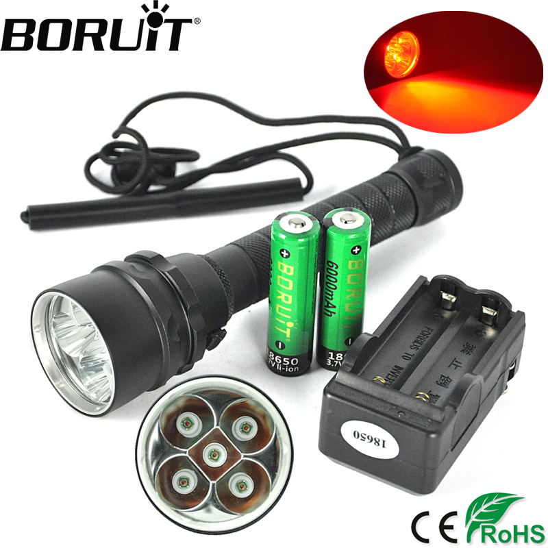 BORUiT 5 XPE Red LED 620nm Diving Flashlight Underwater 150M Scuba Torch Diver Light Waterproof Flash Light by 18650 Battery boruit 10000lm underwater 200m flashlight 5 xml l2 led scuba diving flash light torch lantern 18650 or 26650 battery