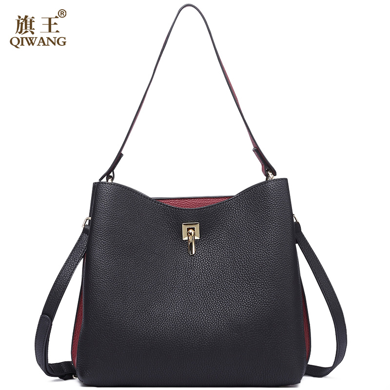 Qiwang Fashion Ladies Bag China Brand Handbag with Long Handles Black Hand Bag Soft Real Leather Women Bag BUCKET Purse liu •jo shoes низкие кеды и кроссовки