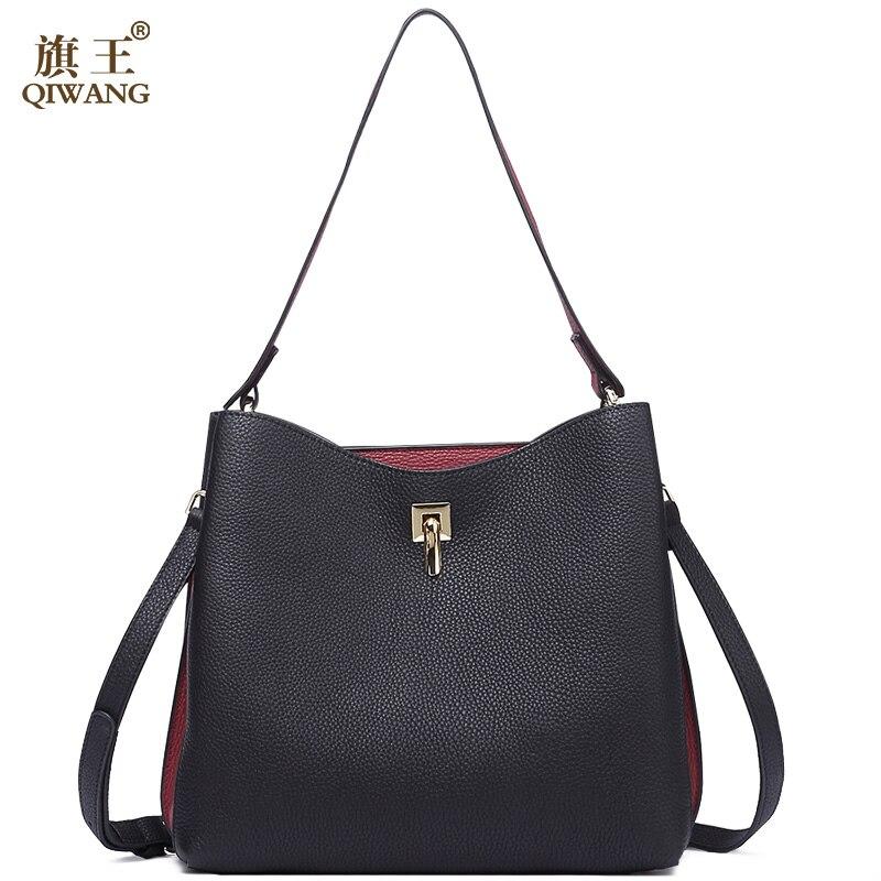 Qiwang Fashion Ladies Bag <font><b>China</b></font> Brand Handbag with Long Top Handles Black Handbag Big Real Leather Women