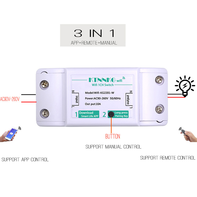1Gang TUYA app Wifi Remote Switch APP Control Light Relay Receiver  Universal Wireless Smart Home Gadgets 10A 220V Manual Button