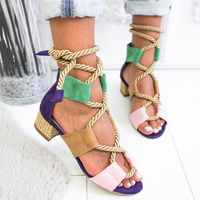 MEMUNIA 2019 Big size 43 women sandals lace up square low heels summer shoes gladiator sandals mixed color Hemp rope casual shoe