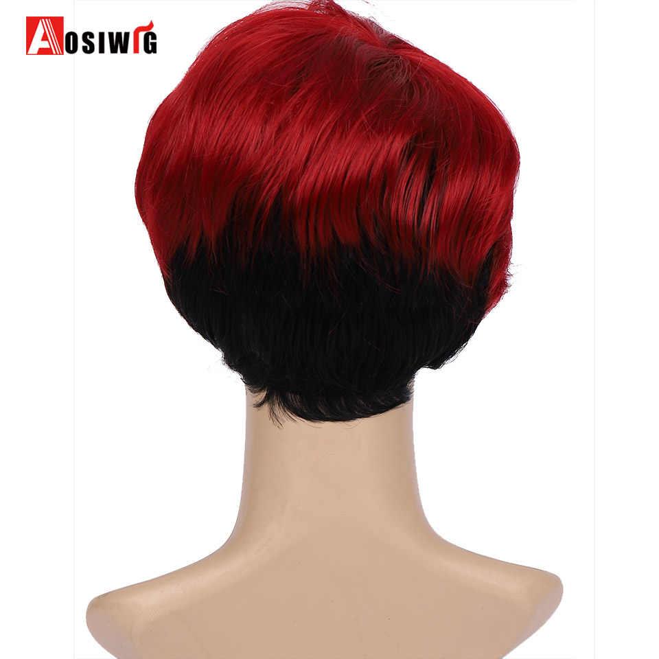 AOSI Frauen Synthetische Haar Perücke Bob Haarschnitt Pixie Stil mit Pony Rot Schwarz Doppel Farbe Kurze Cosplay Perücke
