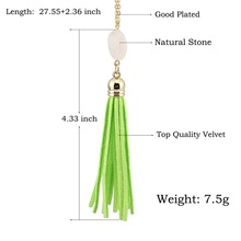Boho Velvet Long Tassel Necklace 2016 Summer Style Leather Tassel Natural Stone Necklace for Women Sweater Chain Fashion Jewelry