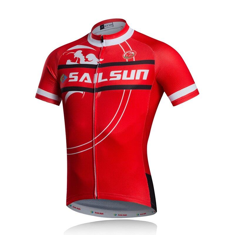 Prix pour VOILE chaud SOLEIL Hommes Pro Cycling Jersey Top Rouge vtt Vélo Vélo Vêtements Ropa Ciclismo D'été Shirts Cyclisme Shirts Vestes