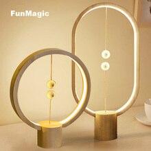 Nordic Modern Art Creativity LED Desk Lamps Wood Ball Magnetic Switch Study Table Light Bedroom Wooden Bedside Lamp Lighting 5W