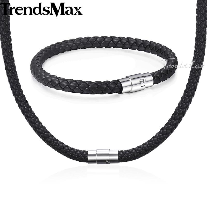 Jewelry-Set Bracelet Stainless-Steel Brown 8mm Black Clasp Men Women KUSM04 4-6 Rope