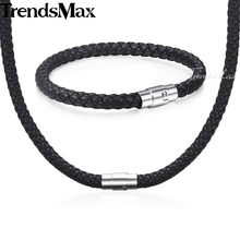 Jewelry-Set Bracelet Stainless-Steel Brown 8mm Clasp Men Women Black KUSM04 4-6 Rope